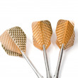 Three target playing darts, whit golden color feather, isolated - Stock Photo