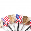 Six target playing darts, whit USA flag colors and golden feather, isolated - Stock Photo