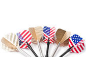 Six target playing darts, whit USA flag colors and golden feather, isolated — Stock Photo