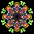 Stock Photo: Colorful fractal smoke pattern, kaleidoscope forms