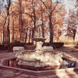 Ornamental fountain in the gardens of the Royal Palace of Aranjuez - Stock Photo