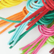 Shoelaces of different colors, knotted, isolated on white — Stock Photo