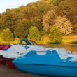 Pedal boats on the lake shore. Saint Pee Sur Nivelle — Stock Photo