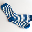 Blue and white striped socks on white background — Stock Photo