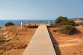 Wooden walkway on the cliffs, Algarve coast, Portugal — Stock Photo