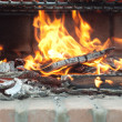 Fire, wood and coals in barbecue — Stock Photo #34781273