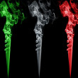 Colored smoke. Italy flag colors — Stock Photo