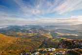 Valley view at sunrise from the top of the mountains, Sierra Salvada, Spain — Stock Photo