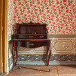 Antique wooden desk, furniture, in an old house — Foto Stock
