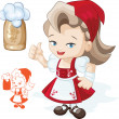Cute blond young beergirl in red dirndl is showing thumbs-up sig — Stock Vector