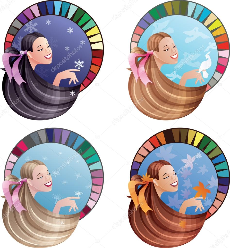 Young laughing women with long hair coloured by seasonal color s