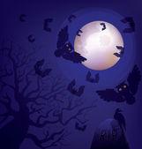 ночь на кладбище. хэллоуин. день мертвых — Cтоковый вектор