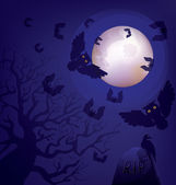 Night at a cemetery. Halloween. Day of the Dead — Stock Vector