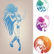 Stock Vector: Ink linework dancing girl in carnival feather costume