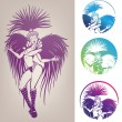 Ink linework dancing girl in carnival feather costume - Stock Vector