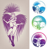 Ink linework dancing girl in carnival feather costume — Stock Vector