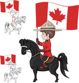 Mountie on horse with flag of Canada in hand — Stock Vector