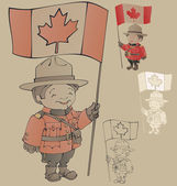 Cute cartoon canadian Mounties — Stock Vector