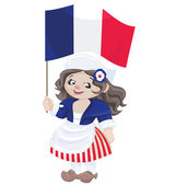 Cute cartoon girl in sans culottes costume — Stock Vector