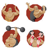 Set of torso circus smiling strong man — Stock Vector
