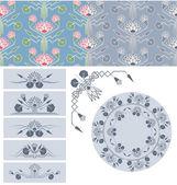 ロータスの装飾デザイン要素のセット — ストックベクタ