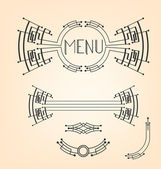 Art deco stylized menu decoration set — Stock Vector