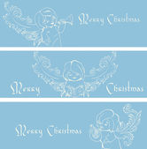 Rich ornate Christmas banner background with singing angels. — Stock Vector