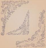 Corner element ornate decorated baroque roccoco — Stock Vector