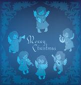 Singing angel ornamental coner Christmas — Stock Vector