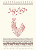 Easter egg card design with folk decoration — Stock Vector