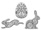 Coloring pages symbols of Easter egg hare rabbit — Stock Vector