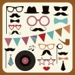 Set of retro party elements. — Vector de stock