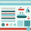 Sea theme elements for scrapbooking - Stock Vector