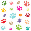 Stock Vector: Colored pattern with paw prints