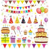 Doğum günü partisi öğeleri kümesi — Stok Vektör