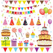 Set of birthday party elements — 图库矢量图片