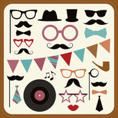 Set of retro party elements. — Stock Vector
