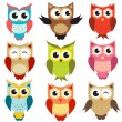 Set of owls — Vector de stock #13943101
