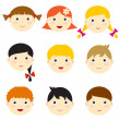 Vector kid faces — Stock Vector