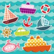 Stock Vector: Set of sea transport stickers.