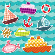 Set of sea transport stickers. — Stock Vector
