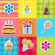 Stock Vector: Patchwork with birthday party elements