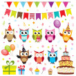 Set of vector birthday party elements with owls — Vector de stock