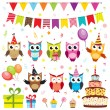 Set of vector birthday party elements with owls — Stock vektor