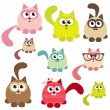 Stock Vector: Set of cute cats