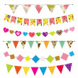 Stock Vector: Textured bunting and garland set