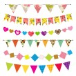 Textured bunting and garland set — Stock Vector #13946294