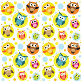 Seamless pattern with colorful owls — 图库矢量图片