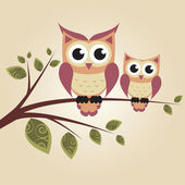 Two owls on the tree — Stock Vector
