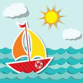 Vector sailing boat sticker — Stock Vector